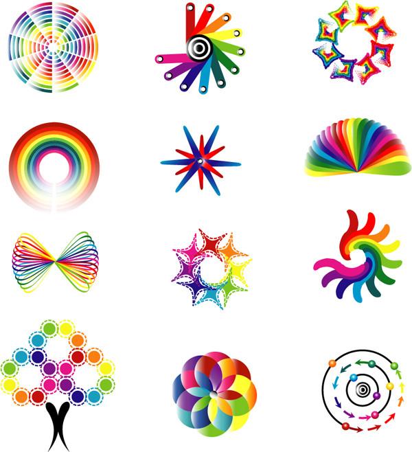 ダイナミックな配色のロゴ製作見本 dynamic color logo pattern