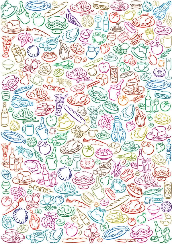 手書きの食べ物パターンの背景 Vector Food Pattern