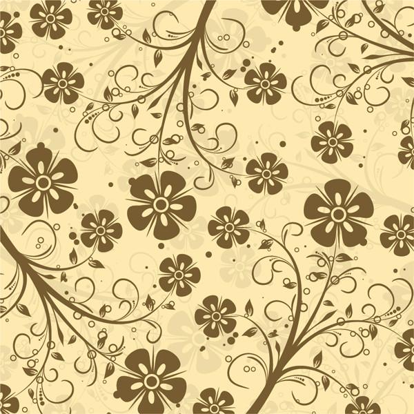 落ち着いた雰囲気の花柄背景 Decorative Floral Vector Pattern