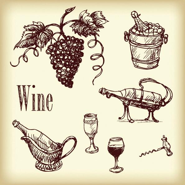 ワイン関連グッズの線画 vector line drawing wine1