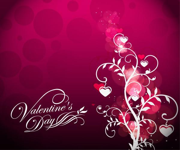 ハートを吊り下げた植物柄のバレンタインデー背景 Valentine's Day Floral on Red Background