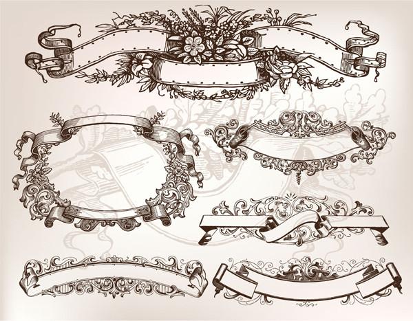 古風なデザインのテキストバナー nostalgia and banner paper pattern4