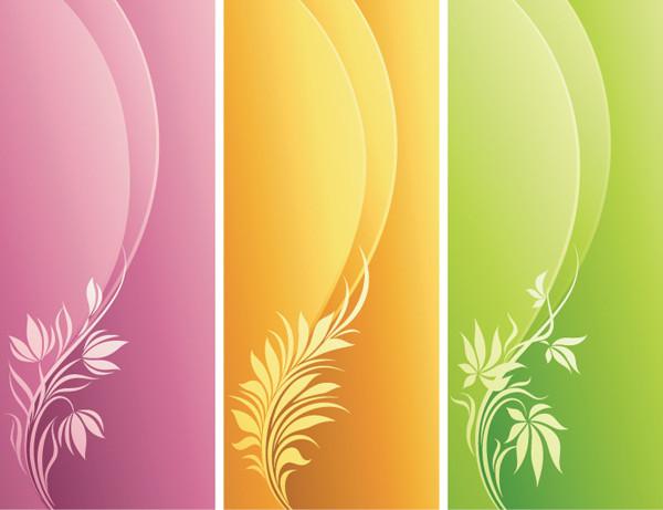 優雅な曲線と植物の背景 Fashion Floral with Curve Background