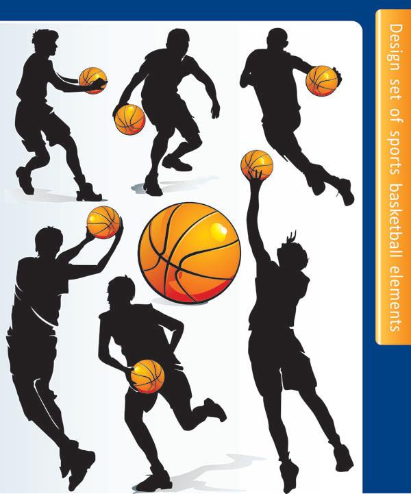 バスケットボール選手のシルエット basketball silhouette character vector4