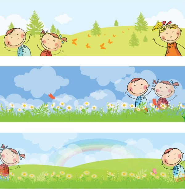 草原で遊ぶ子供のバナー Horizontal kids banners
