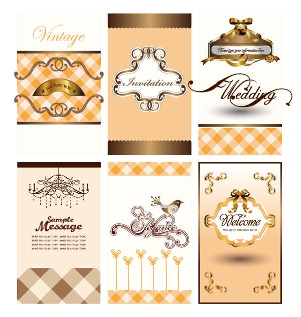 曲線リボンのカード背景 carved lines patterns ribbons card background