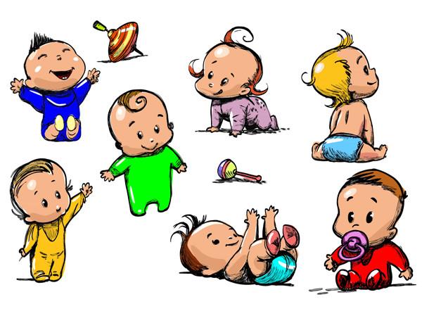 可愛い赤ちゃんのクリップアート handpainted baby vector2