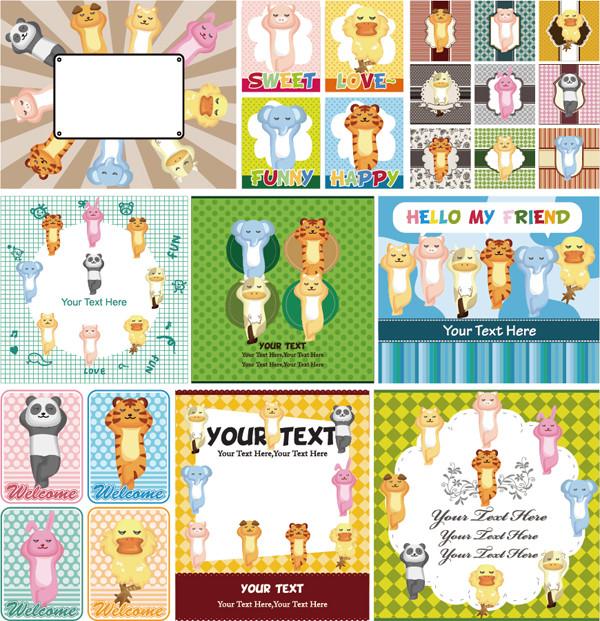 カウボーイと動物のテキストスペース cute cartoon hunting little boy and animal label2