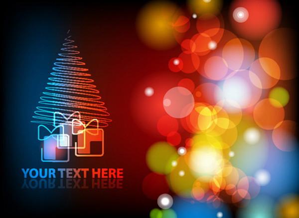 カラフルな光がにじむクリスマスツリーの背景 gorgeous christmas background