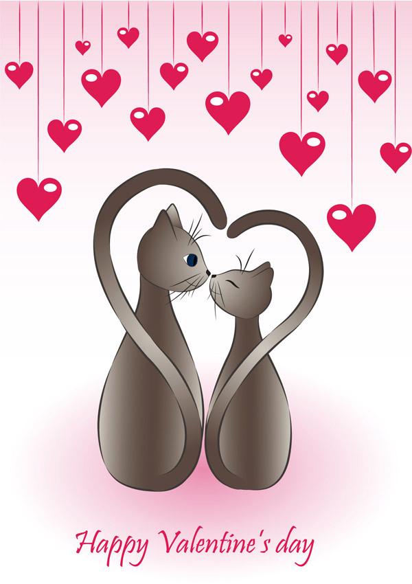猫とハートのバレンタインデー背景 Heart cat happy valentine day4