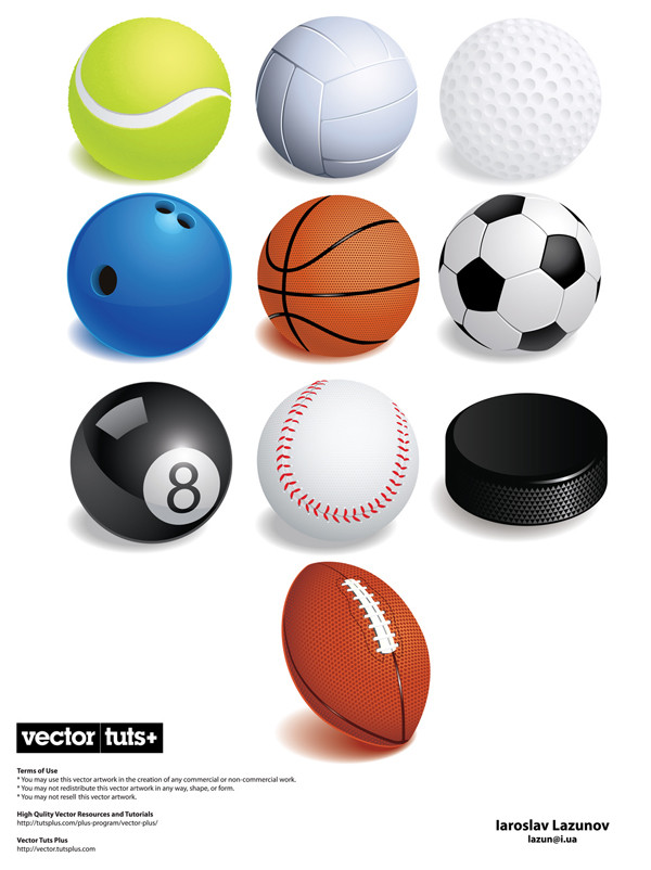 各種球技用ボール variety of ball games vector