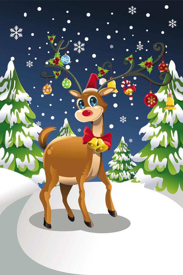 角にクリスマスの飾り付けしたトナカイ celebration reindeer Christmas tree