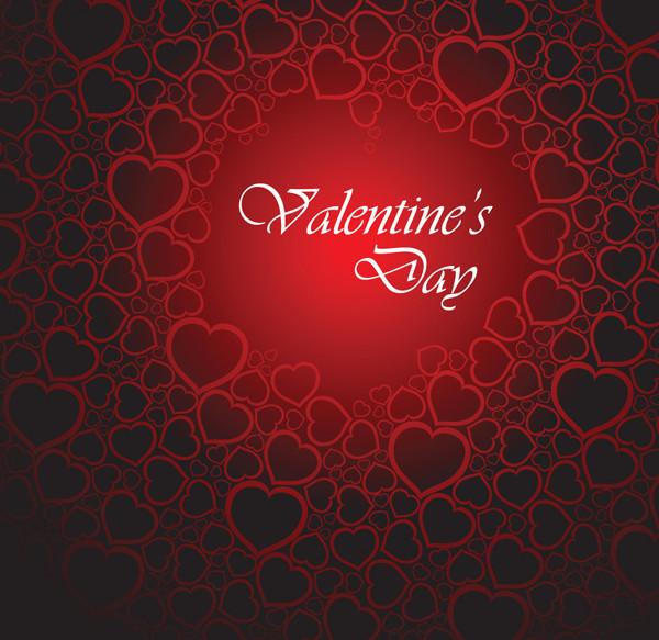 シームレスなハート型リングのバレンタインデー背景 Valentine's Day greeting cards heart-shaped