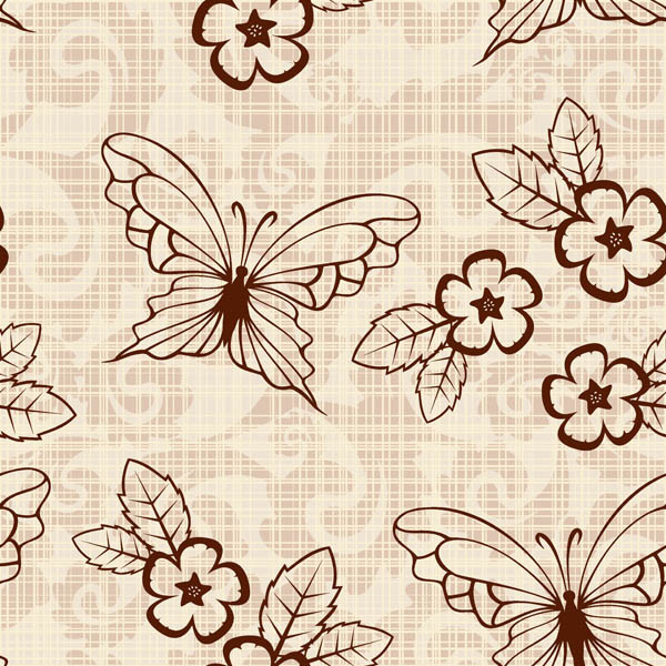 レトロな花と蝶の背景 retro butterflies flower pattern background4