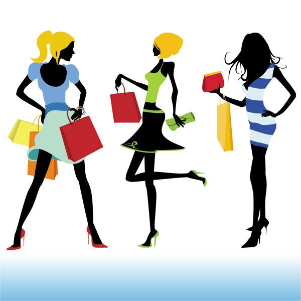 お洒落に買い物を楽しむ女性のシルエット fashion shopping girl vector3