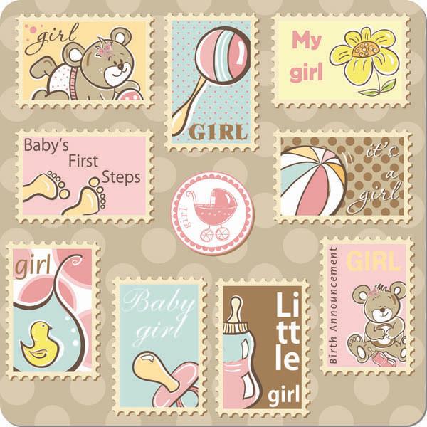 可愛い切手のクリップアート cute cartoon ornaments stamp