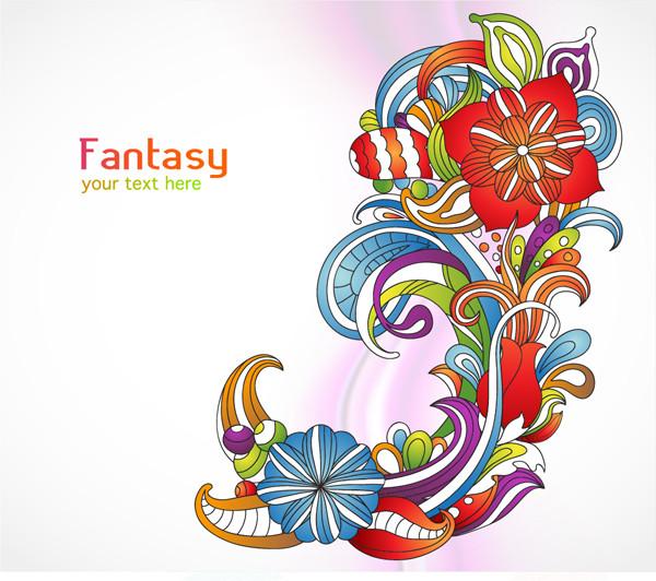 カラフルな原色の花柄背景 vector colorful floral background