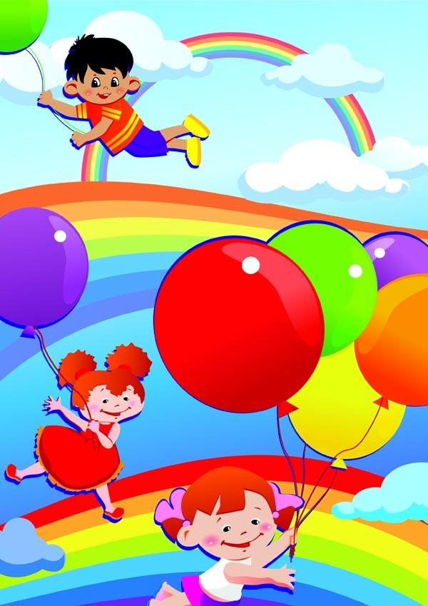 楽しく遊ぶ子供達の背景 children cartoon illustration vector1