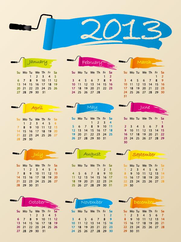 新年のカレンダー テンプレート 2013 New Year calendar grids1