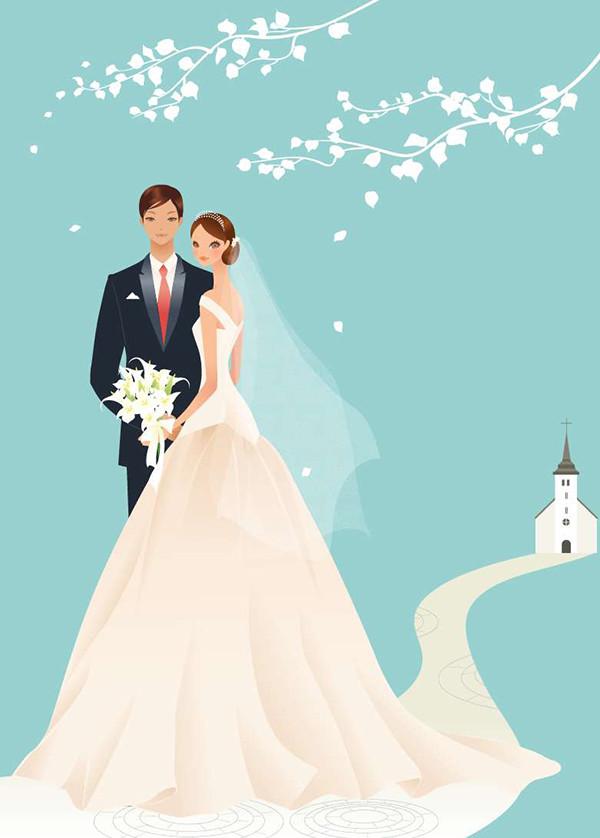 教会の前で寄り添う結婚式のカップル Wedding Vector Graphic