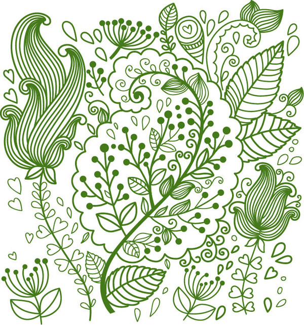 美しい緑の植物の背景 Abstract Flowers Background