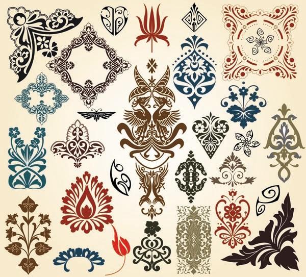 ヨーロッパ調の古典的な装飾素材 european classical pattern totem vector1