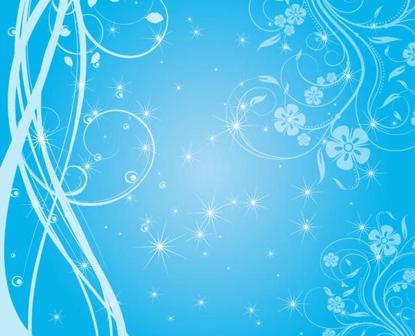 優雅に巻いた植物の蔓の背景 Swirly Blue Stars Vector Background
