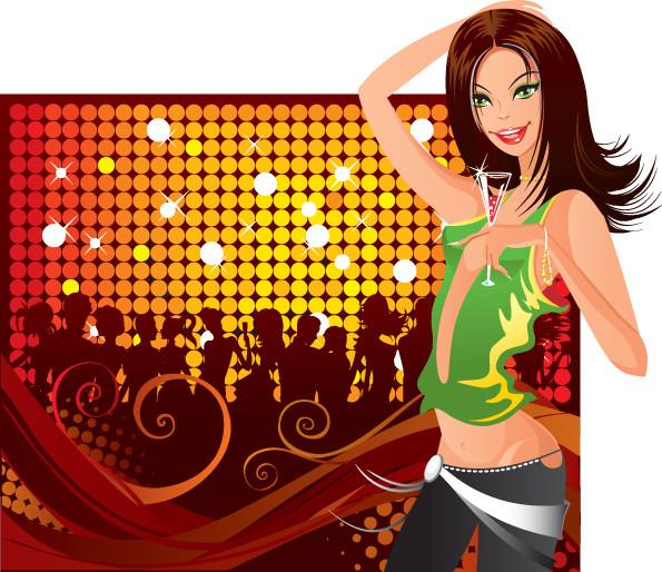 クラブで盛り上がる女性のクリップアート disco fashion clubs women2