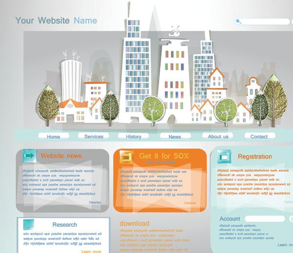 建物の切り絵風サイト デザイン construction papercut vector