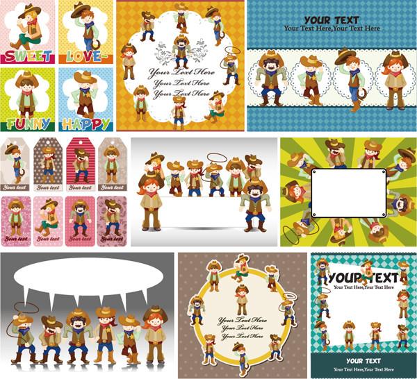 カウボーイと動物のテキストスペース cute cartoon hunting little boy and animal label1