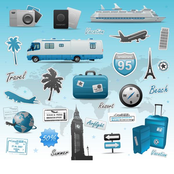 旅行をテーマにしたイラスト素材 travel theme vector