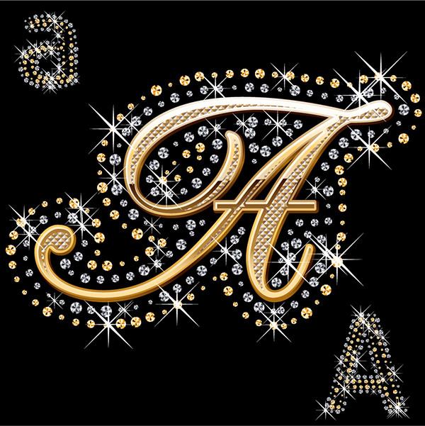 ダイヤモンドで飾り付けたアルファベット文字 diamond embedded in the english alphabet2
