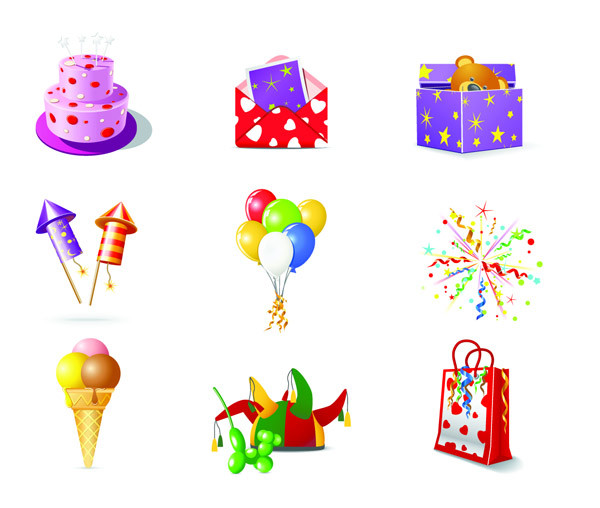 誕生日をテーマにしたアイコン birthday theme icon vector1