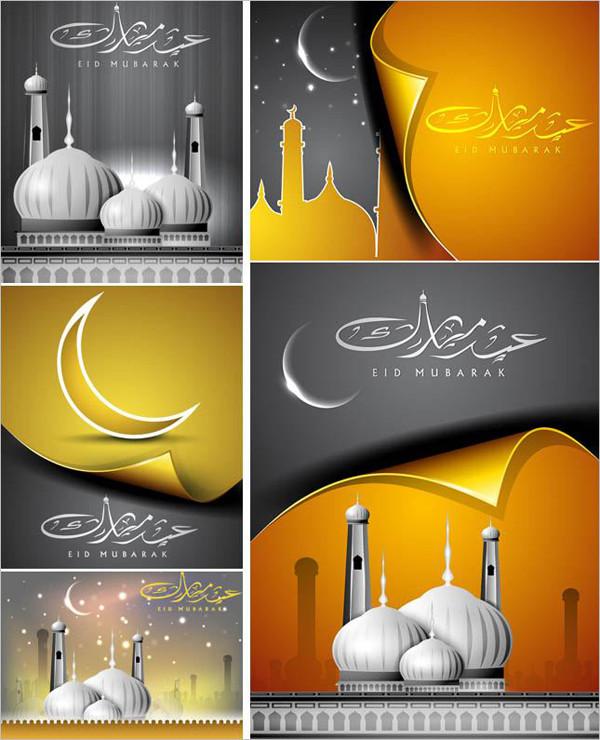 イスラム風モスクの背景 Islamic backgrounds with mosque illustrations