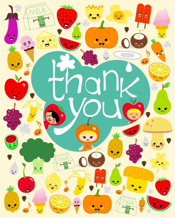 野菜と果物を漫画で描いたサンキュー カードの背景 expression vector cute cartoon fruit