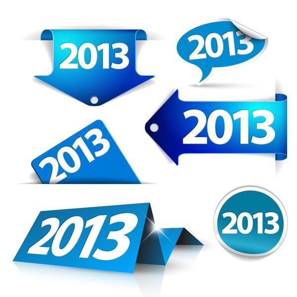 新年2013年のタグとラベル blue New Year tags and labels with 2013 lettering