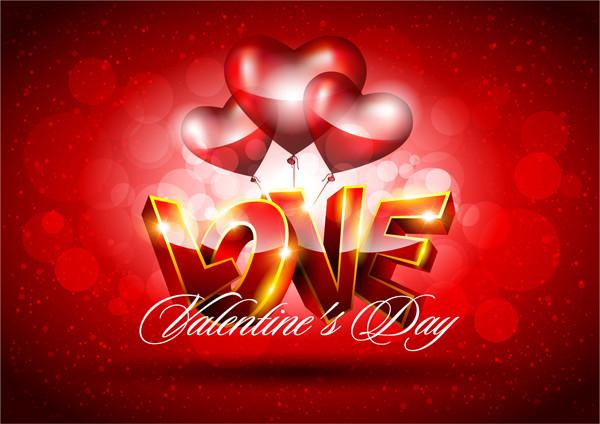 ハート型風船のバレンタインデー背景 fancy valentine background