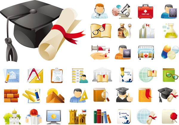 勉強と学術関連のアイコン Education & Science Icons Sets