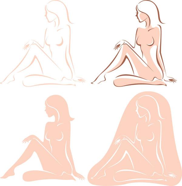 女性モデル裸体のシルエット female models body vector