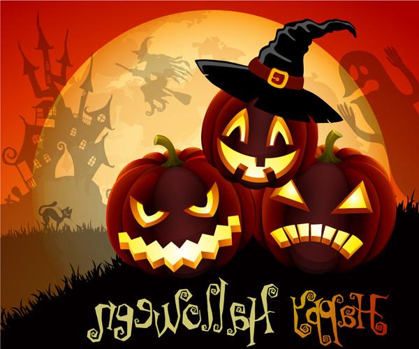 ハロウィンかぼちゃランタンの背景 Vector Cute Halloween Illustration