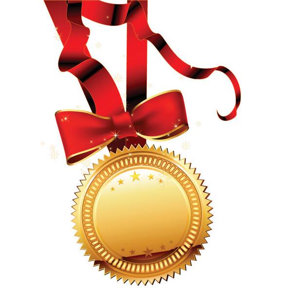 豪華な金メダルのデザイン見本 gold ribbon medal vector5