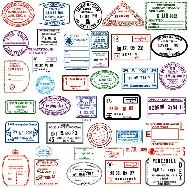 各国の渡航ビザ スタンプ見本 countries in the visa stamp vector