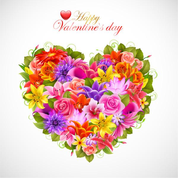 ハート型に整えたバレンタインデーの花束 Valentine's Day flowers background