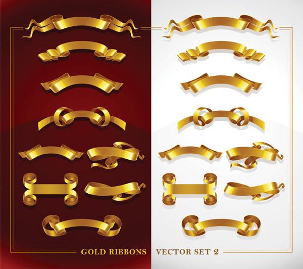 輝く金色リボンのクリップアート beautiful gold ribbon clip art