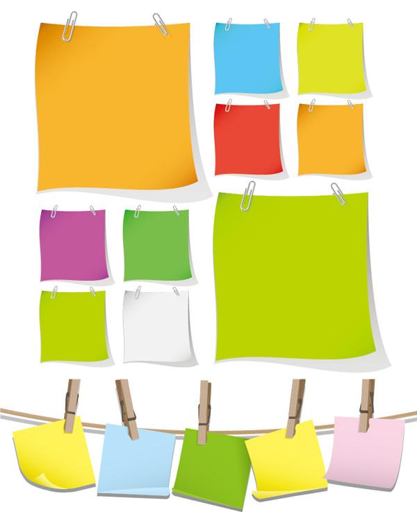 クリップで止めたカラフルなメモ用紙 Blank Colorful Papers with Clip Vector Graphic