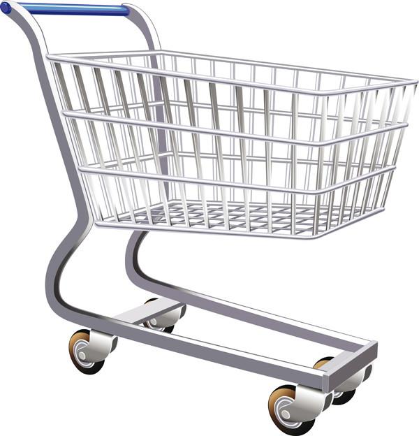 ショッピングカートのクリップアート supermarket shopping cart vector2