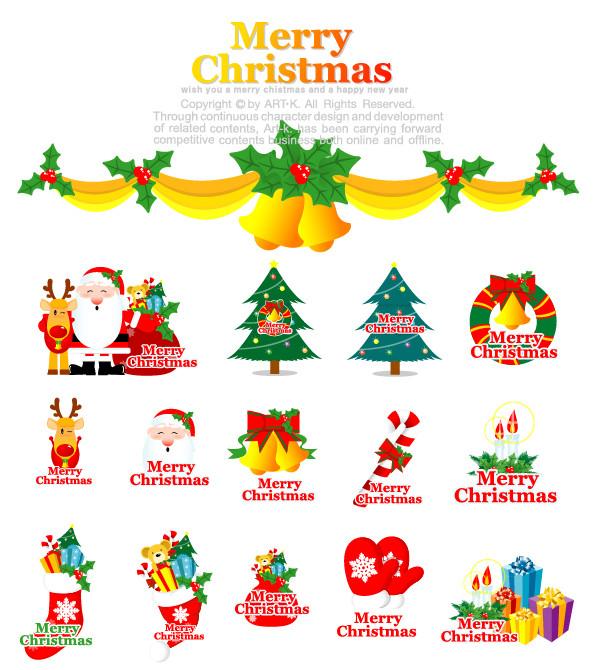 クリスマス素材のイラスト cartoon christmas element vector1