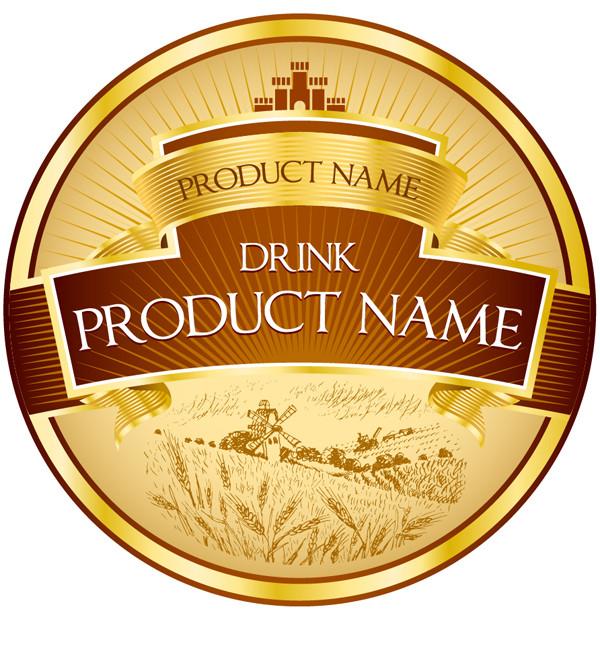 豪華な金色ラベルのデザイン見本 product label design