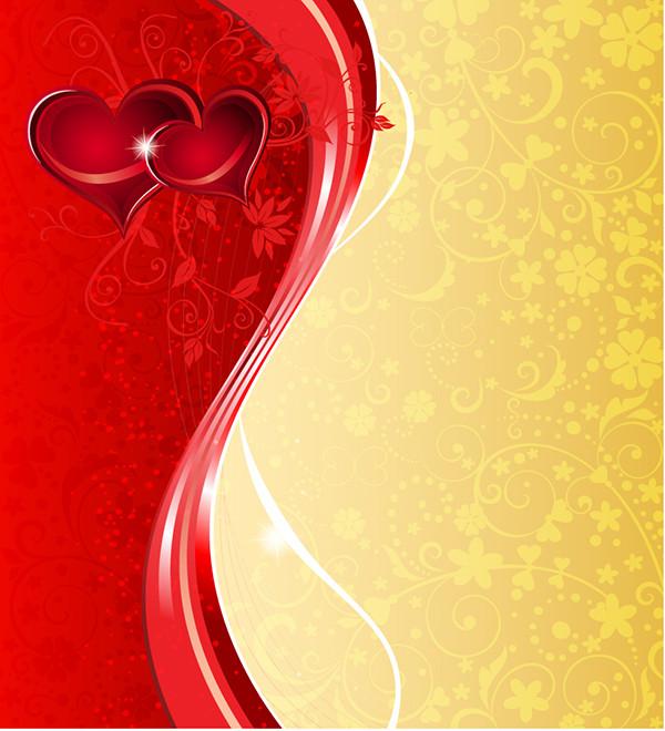 美しい曲線に輝くハートのバレンタインデー背景 Heart Valentine background