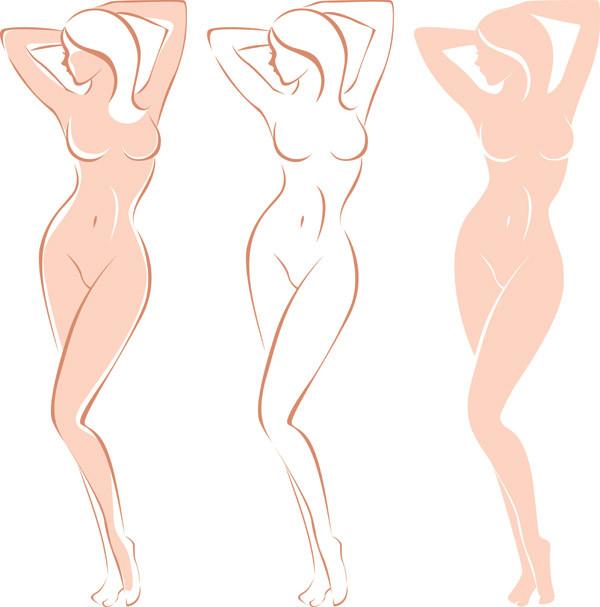 女性モデル裸体のシルエット female models body vector2